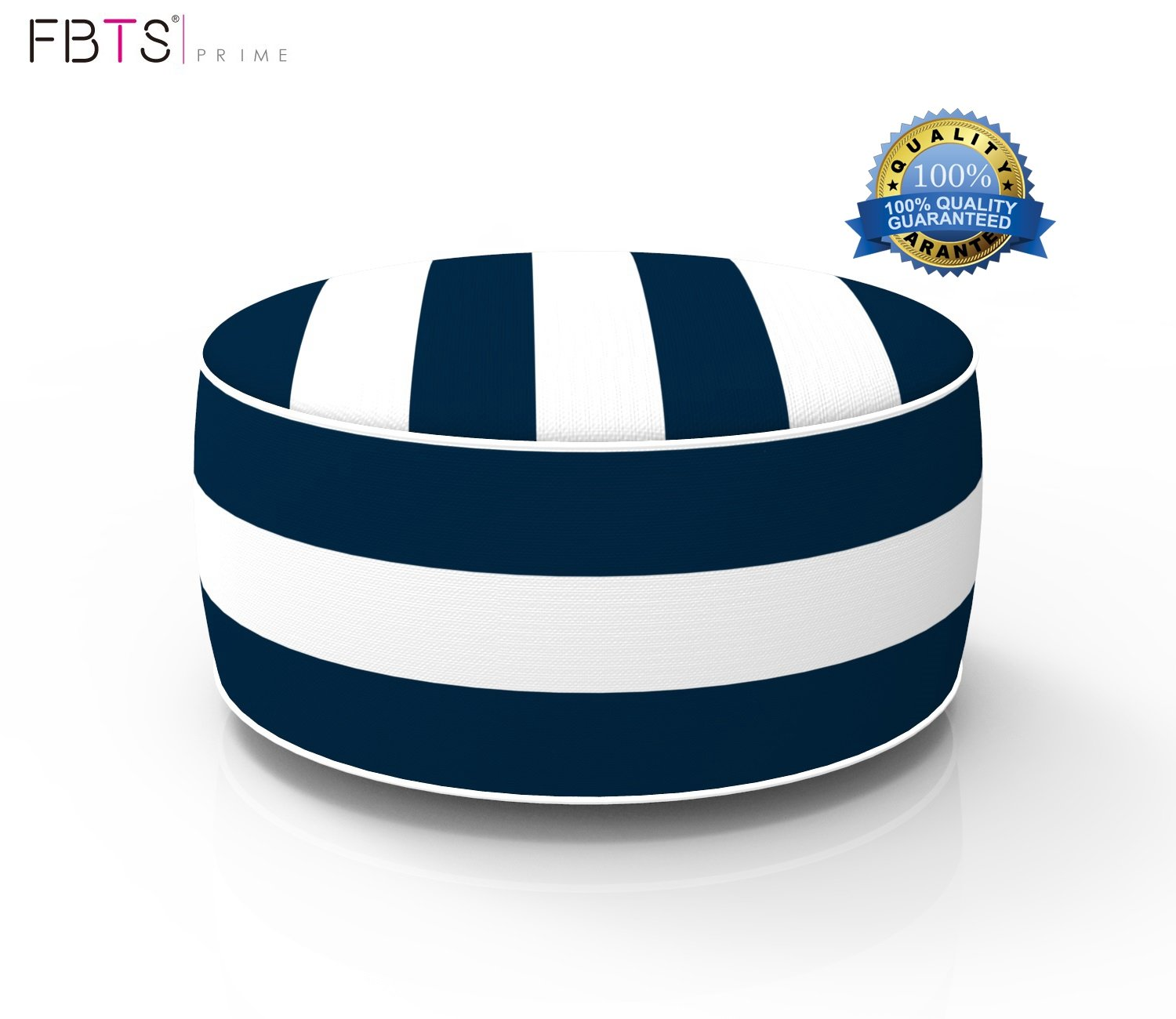 FBTS Prime Outdoor Inflatable Ottoman Navy and White Stripe Round Patio Foot Stools and Ottomans Suitable for Kids and Adults Portable Travel Footstool Used for Outdoor Camping Home Yoga Foot Rest