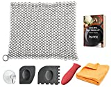 KitchWhiz (6-in-One + eBook) Cast Iron Cleaner XL - Premium Stainless Steel Chainmail Scrubber With Bonus Iron Skillet Handle Holder, Pan Scraper, Grill Scraper, Kitchen Towel, Drying Hook