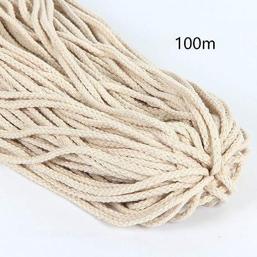 Cuerda de algodón trenzado de 5 mm x 100 m, cuerda de macramé ...