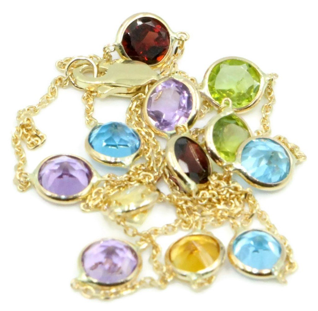 Multicolor 4 mm Gemstones 16 Inches Necklace 14k Yellow Gold Chain