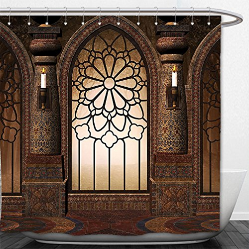Interestlee Shower Curtain Gothic Decor Collection Illustration Of Antique Myst Gate With Oriental Islamic Pattern And Curvings Artistic Design Brown