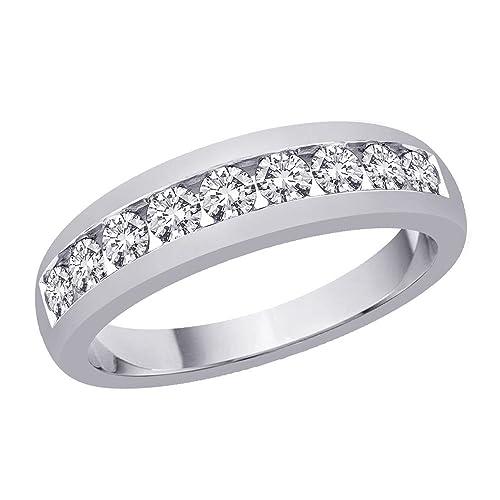 0,54 Ct redondo Natural Diamond anillos de boda para hombre 14 K oro blanco