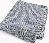 Hi9 Shop Knitted Patterns Baby Stroller Blanket for Toddler Bedding Cover 100 x 80 cm (Grey)