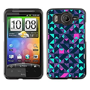 For HTC Desire HD / G10 / inspire 4GCase , Art Reflective Teal Pink Pattern - Diseño Patrón Teléfono Caso Cubierta Case Bumper Duro Protección Case Cover Funda