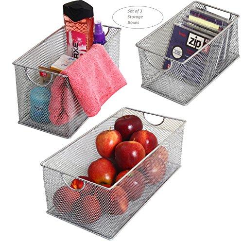 YBM Home 2320-3 Set of 3 Mesh Storage Boxes, Silver - Home Set Box
