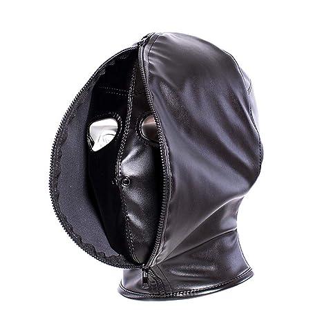 Amosfun Cara Completa Máscara Venda Máscara Transpirable Máscara de Cuero de LA PU Máscara de Sexo