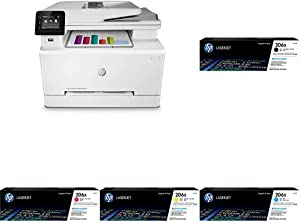 HP Color LaserJet Pro M283fdw Wireless All-in-One Laser Printer, Remote Mobile Print, Scan & Copy, Duplex Printing (7KW75A) with XL -Toner -Cartridges - 4 Colors