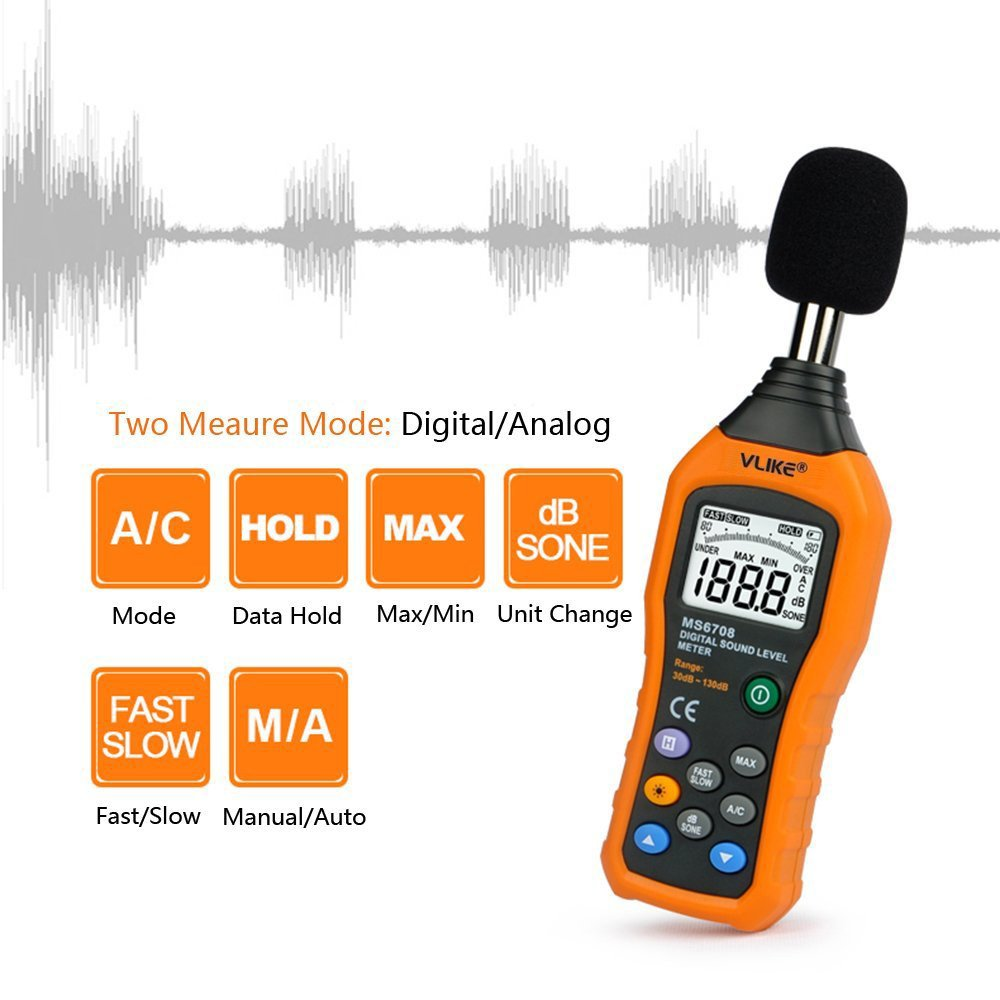 Vlike Lcd Digital Audio Decibel Meter Sound Level Noise A Weighting Filter For Measurement Monitor Db Measuring 30 To 130 Max Data Hold