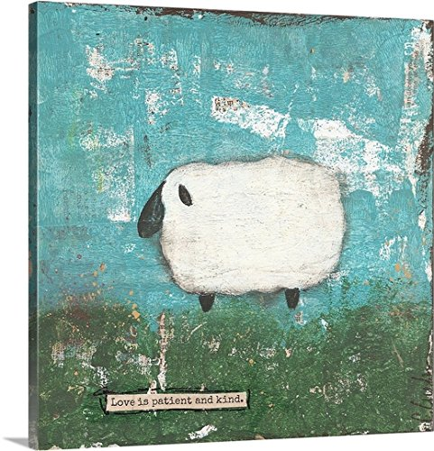 Canvas On Demand Cassandra Cushman Premium Thick-Wrap Canvas Wall Art Print, 30'' x 30'', entitled 'Faith Sheep' by Canvas on Demand