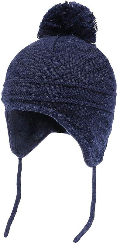 Tacobear Bonnet Bebe Fille Bonnet Enfant Garcon Hiver Bonnet Pompon avec Oreillette Bonnet Tricot/é Chapeau B/éb/é Gar/çon Bonnet Enfant Hiver Bonnet Thermique Gar/çons Filles 0-8 Ans