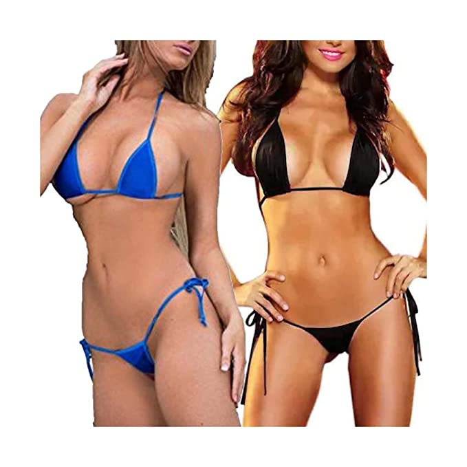 7d55a4600b SheTalks Women s Polyester Micro Thong G String Brazilian Mini Top Bra  Bikini Swimsuit Swimwear Set of 2 (Blue and Black)  Amazon.in  Clothing    Accessories