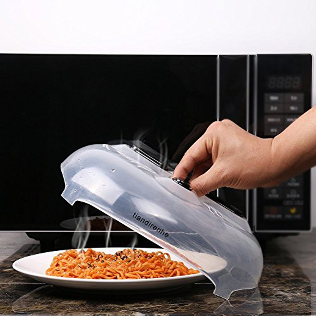 Tiandirenhe Hover Cover Magnetic Microwave Splatter Lid with Steam Vents Cover Food Guard Cover 11.5 inches with Handle Dishwasher Safe Microwave Cover