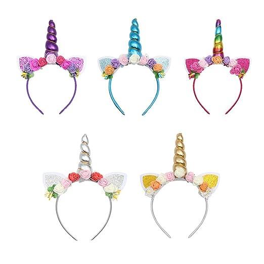 Diadema con cuerno de unicornio con brillo para niñas ...