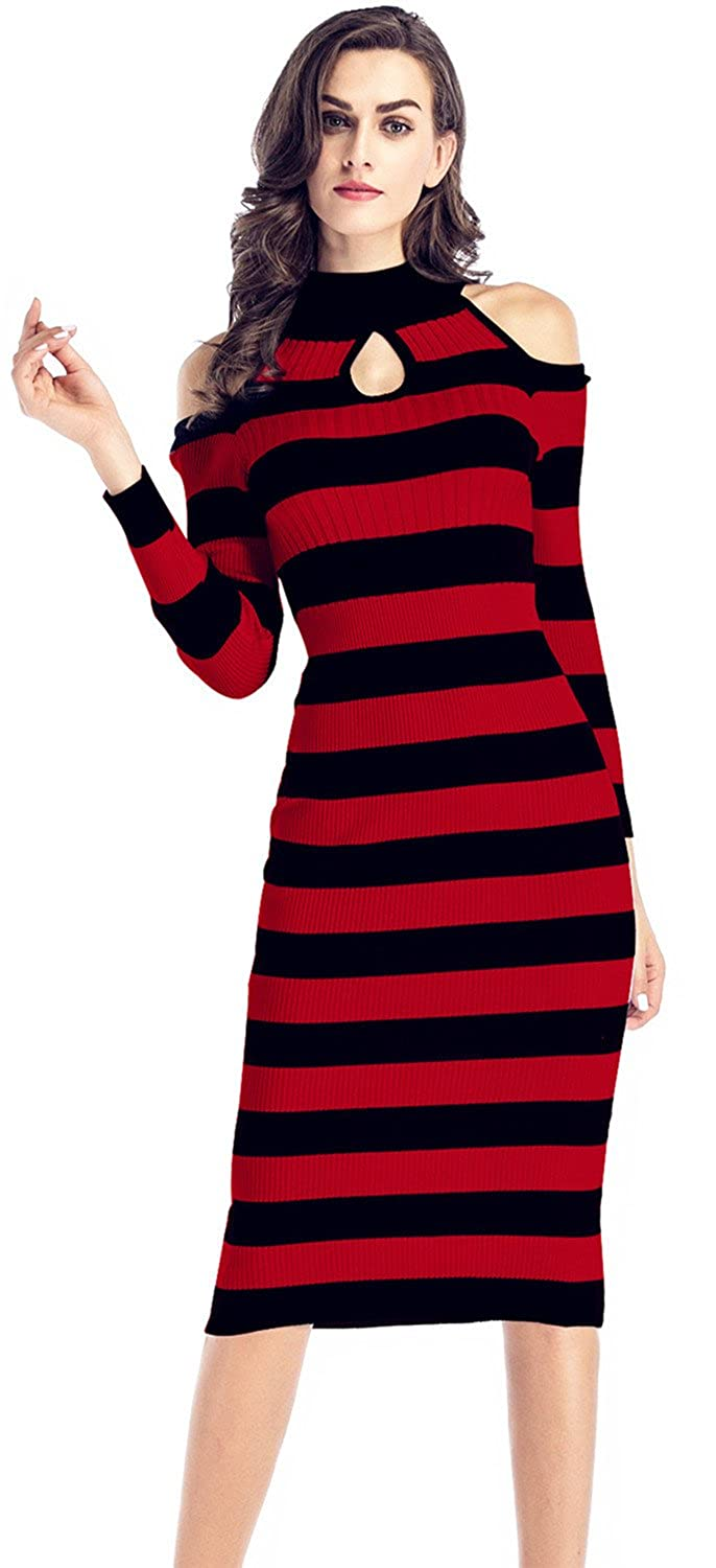 f55b3935c5 Sexy Long Sleeve High Mock Neck Cold Open Shoulder Cut Out Ribbed Rib Knit  Stretchy Stretch Slim Fit Midi Bodycon One Step Package Hip Sweater dress.