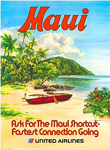 (A SLICE IN TIME 1960s Maui Hawaii Hawaiian Beach United Airlines Vintage Airline United States Travel Advertisement Art Poster Print. Measures 10 x 13.5 inches )