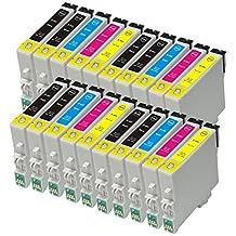 Proosh Compatible 20 Ink Cartridges for T060 (#60) Non OEM; 8 Black T0601, 4 Cyan T0602, 4 Magenta T0603, 4 Yellow T0604 for use in Compatible Printers: Epson Stylus C68 / C88 / C88Plus / CX3800 / CX3810 / CX4200 / CX4800 / CX5800 / CX5800F / CX7800 / D68P / D88 / D88Plus / DX3800 / DX4800