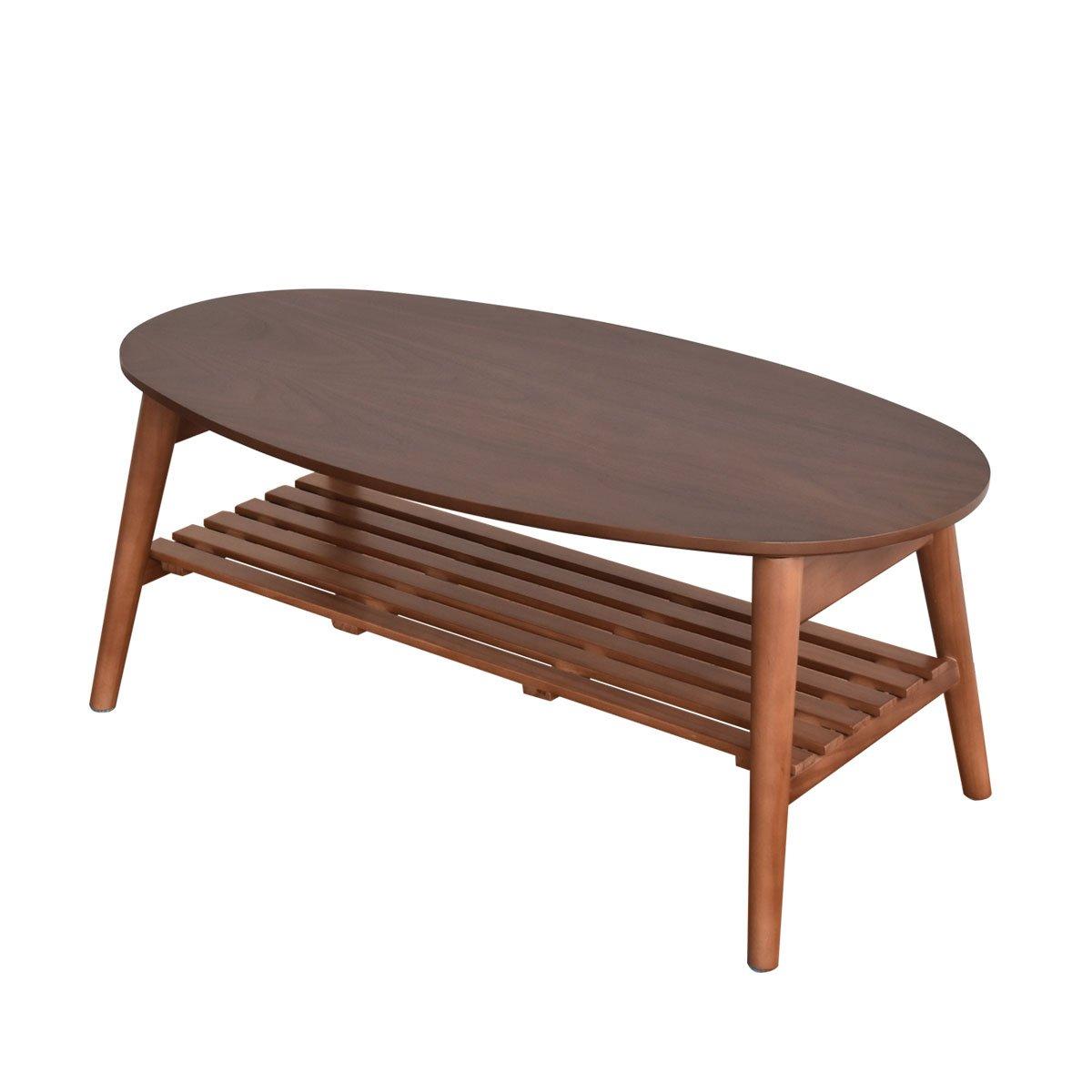 VANETTE(バネット) ウォールナット 折りたたみテーブル 幅88cm (オーバル型) B07D8RZSXD