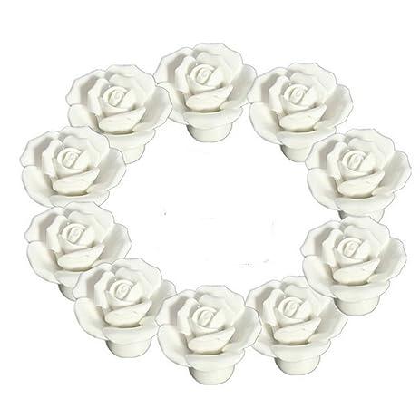 10PCS White Ceramic Vintage Floral Rose Door Knobs Handle Drawer ...