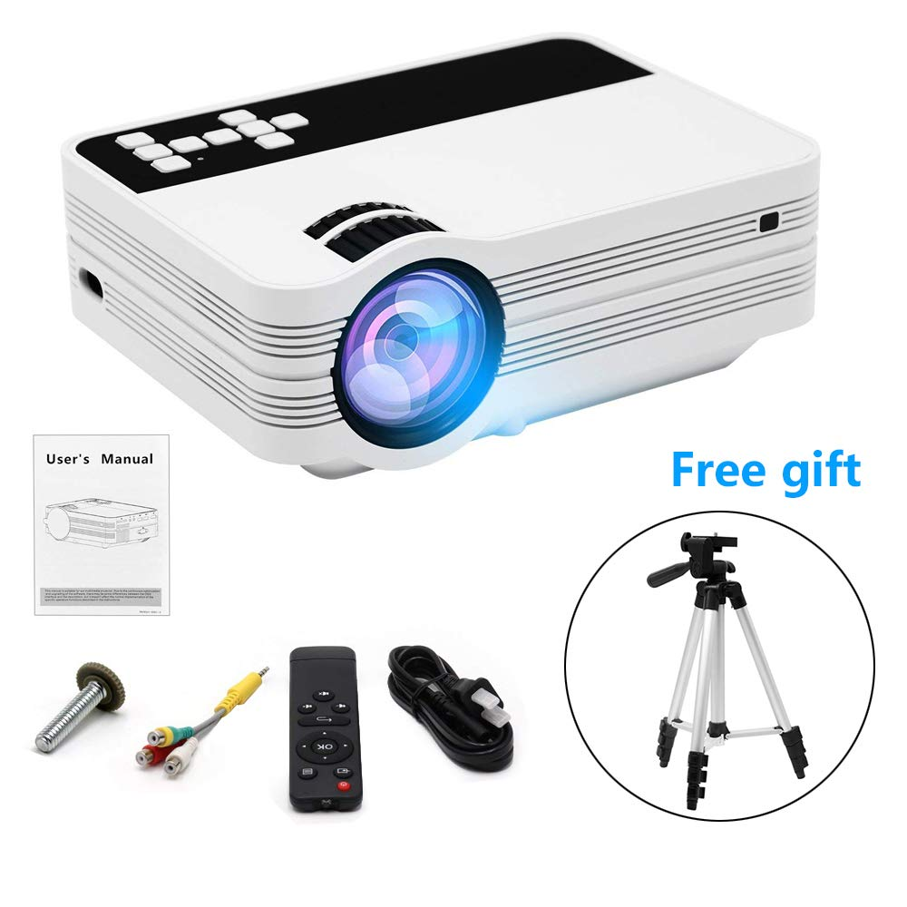 CINOTON Mini Projector with One Free Lightweight Tripod, 1080P 120'' LCD Video Projector Support HDMI VGA AV USB Micro SD Ideal for Home Theater Entertainment Party and Games, White