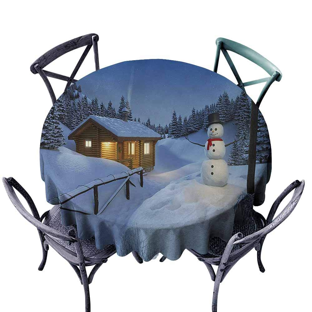 VIVIDX Indoor/Outdoor Round Tablecloth,Christmas,Wooden Rustic Log Cottage Scenery in The Winter Season Warm Moonlight Spirit,for Events Party Restaurant Dining Table Cover,40 INCH,Blue White