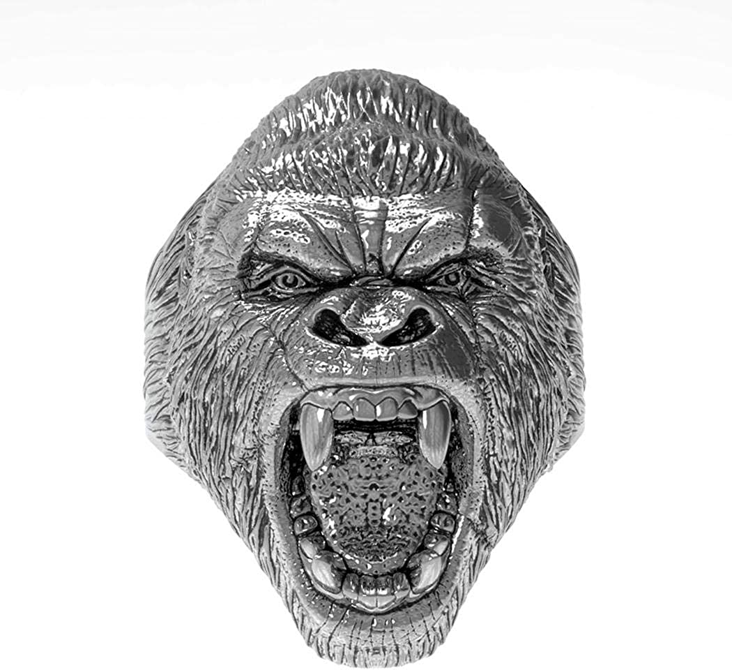 Silver Angry Gorilla Fashion Stainless Steel Jewelry JEWURA Biker Ring