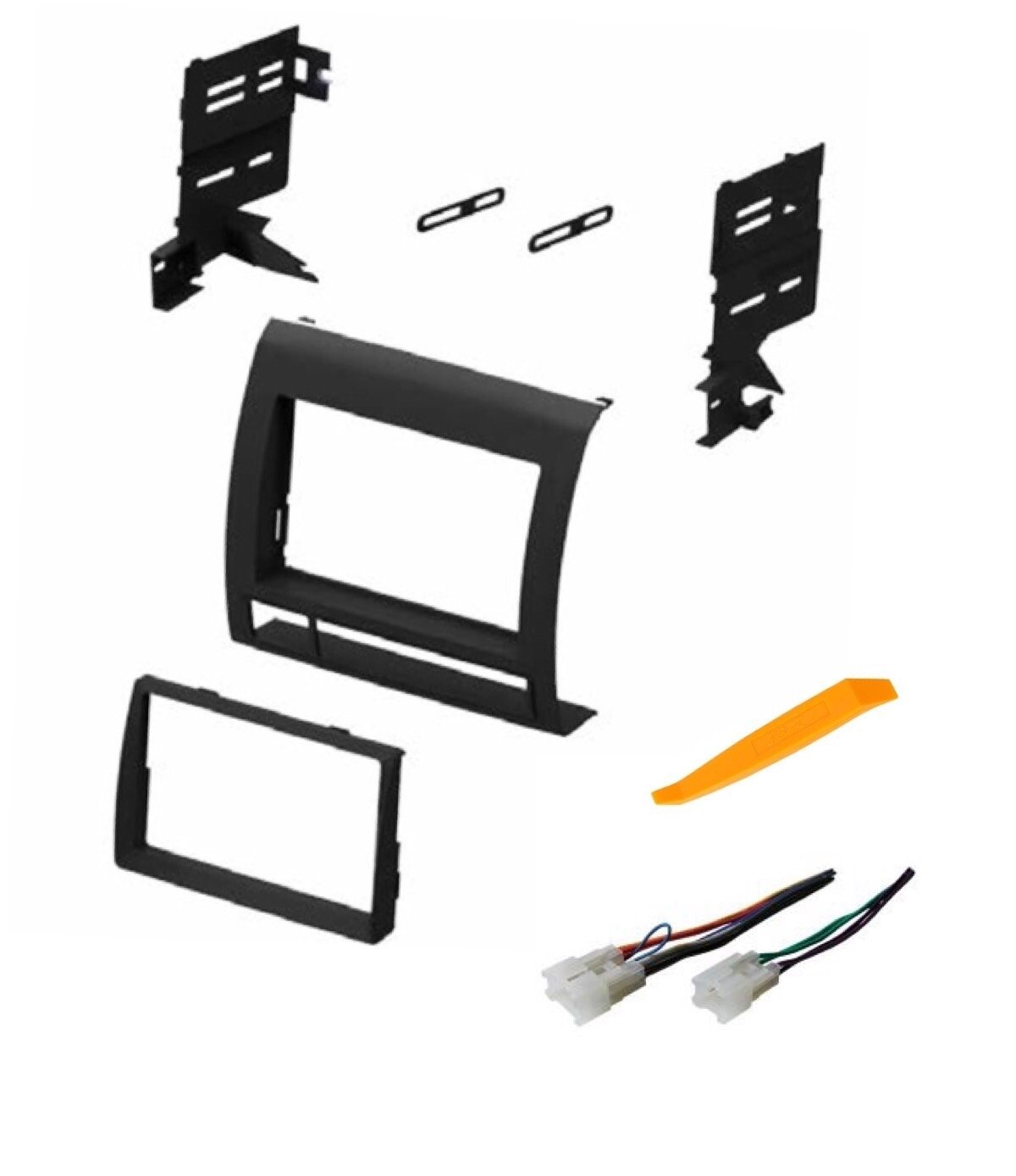 No Factory Premium Amp Other ASC Audio Car Stereo Dash Install Kit and Wire Harness for Installing an Aftermarket Double Din Radio for 2005 2006 2007 2008 2009 2010 2011 Toyota Tacoma