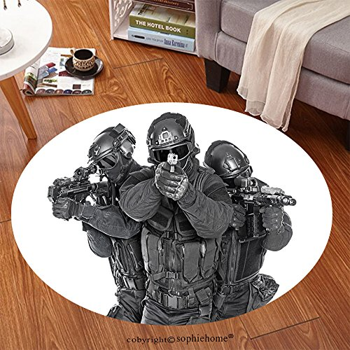 Blade Dot Helmet (Sophiehome Soft Carpet 327585224 Studio shot of swat police special forces black uniforms pointing terrorists pistol automatic rifle Tactical helmet vest goggles Anti-skid Carpet Round 47 inches)