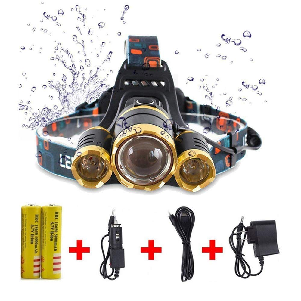 10000 LM Best Headlamp LED flashlight, super bright Helmet light-18650 USB rechargeable, waterproof, zoom function, 3 lights 4 mode Battery Included,Perfect for outdoor sports headlight (Gold)