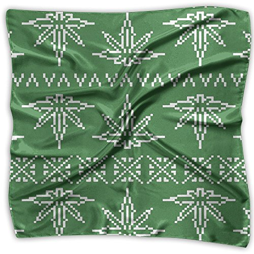 Kerera Woman Weed Pixel Marijuana Cannabis Pattern Soft Neckerchief Silk Scarf