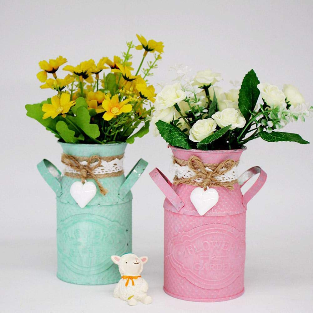 Brownrolly 2pcs Vase /à Fleur pichet en m/étal Vintage avec poign/ée planteur de bidon darrosage minable Barrel Pot de Fleur d/écoratif pour la Maison de Mariage de d/écoration