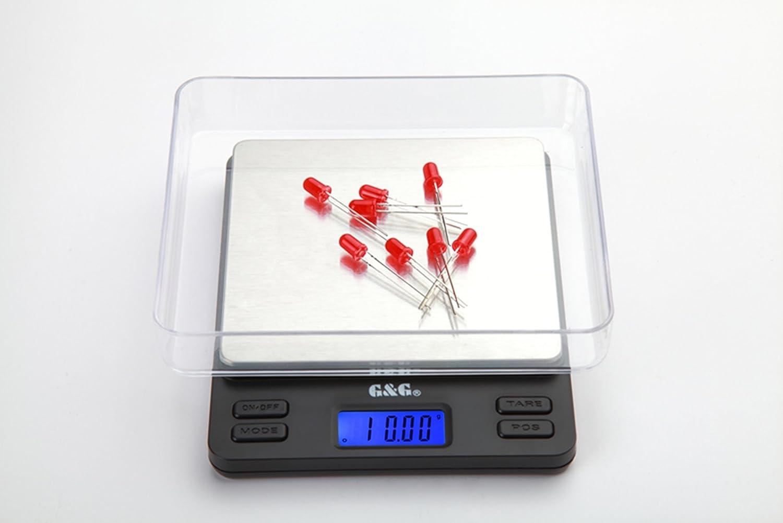 G&G - Báscula digital de precisión - Peso máximo: 1000 g / Granularidad: 0,05 g - Color Plateado: Amazon.es: Hogar