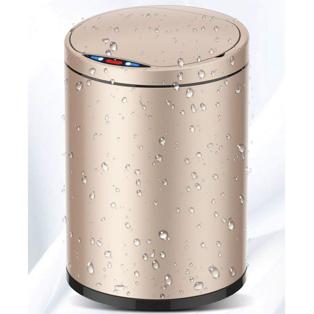 Abfall & Recycling LYQ Kleine automatische Mülleimer 9L Touchless Fingerabdruck-Nachweis intelligente Induktion Müllcontainer mit inneren Eimer Umwälzpumpe ruhigen Deckel zu schließen Farbe : Gold Küchen-Abfalleimer