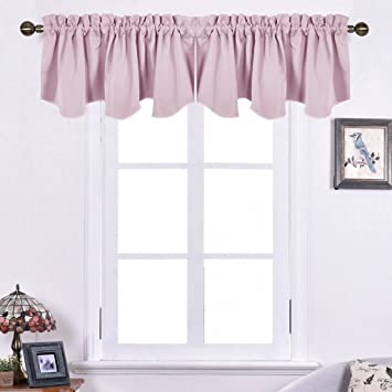 NICETOWN Bedroom Blackout Valance Tier   52 Inch By 18 Inch Scalloped Rod  Pocket
