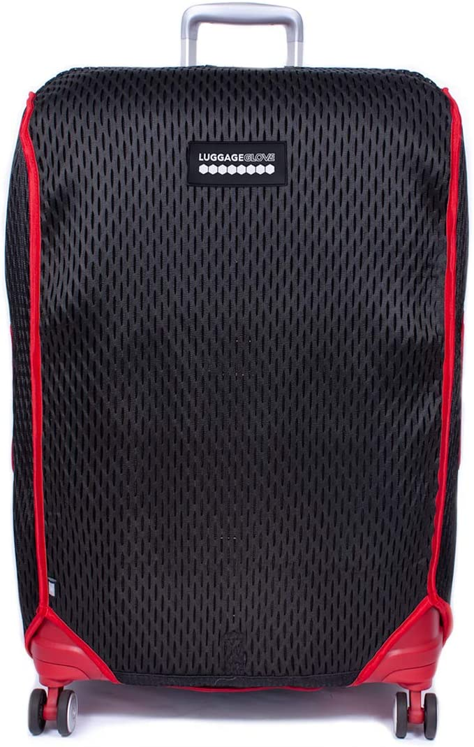 Luggage Glove 3D-Mesh Suitcase Protector Cover with TSA Approved Lock Large 27-30 inch Red