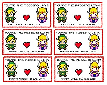 Amazon Com 12 Retro Pixel Zelda Valentines Day Sticker Cards For