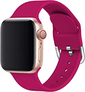 Yigko Sport Band Compatible for Apple Watch Band, Soft Silicone Wrist Replacement Strap for Watch Series 6/5/4/3/2/1/SE (Pom Red, 38mm/40mm S/M)