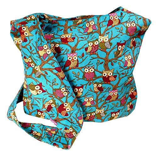 Immerschön Baumwoll-Tasche in vielen tollen Motiven und Farben Umhänge-Tasche Shopper Handtasche Eule türkis XrxoA1Kqc