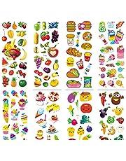 HENJIA Pegatinas de Dibujos Animados de Espuma de Alimentos Frutas Verduras Pastel de Hamburguesa Juguete Clásico para Niños DIY Scrapbook Refrigerador 6 Unids