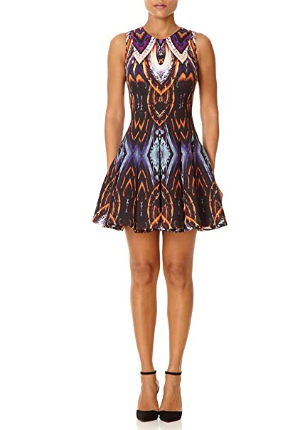 Forever Unique – Romana, mezcla de color morado impresión ajuste y Flare vestido