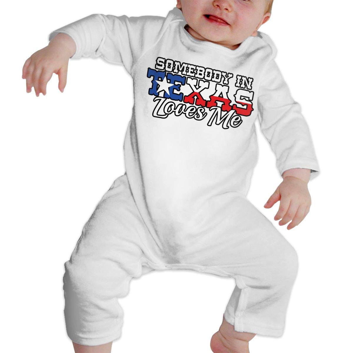 Long Sleeve One-Piece Coverall 100/% Organic Cotton AucCen Babys Somebody in Texas Loves Me Jumpsuit Bodysuit Clothes