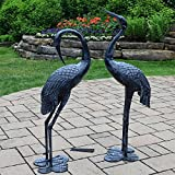 CC Outdoor Living Set of 2 Lovely Pewter Gray Aluminum Decorative Standing Crane Yard Statues 47""