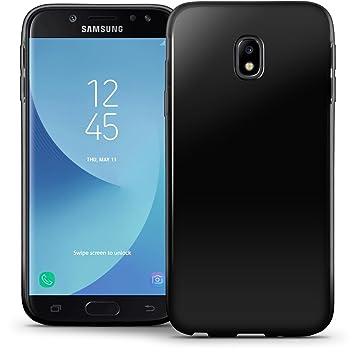 igadgitz Sólido Negro Lustroso Funda Carcasa Gel TPU para Samsung Galaxy J5 2017 Case Cover + Protector Pantalla