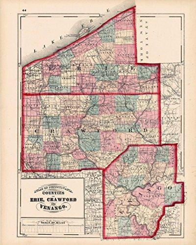 Pennsylvania Antique Map (Erie Crawford Venango County Pennsylvania Antique Map Walling 1872 Authentic Decor History Gift Idea)