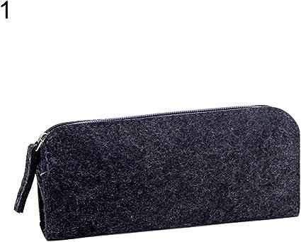 Mothcattl - Estuche para lápices con cremallera redonda y plana, gran capacidad, color negro Flat: Amazon.es: Oficina y papelería