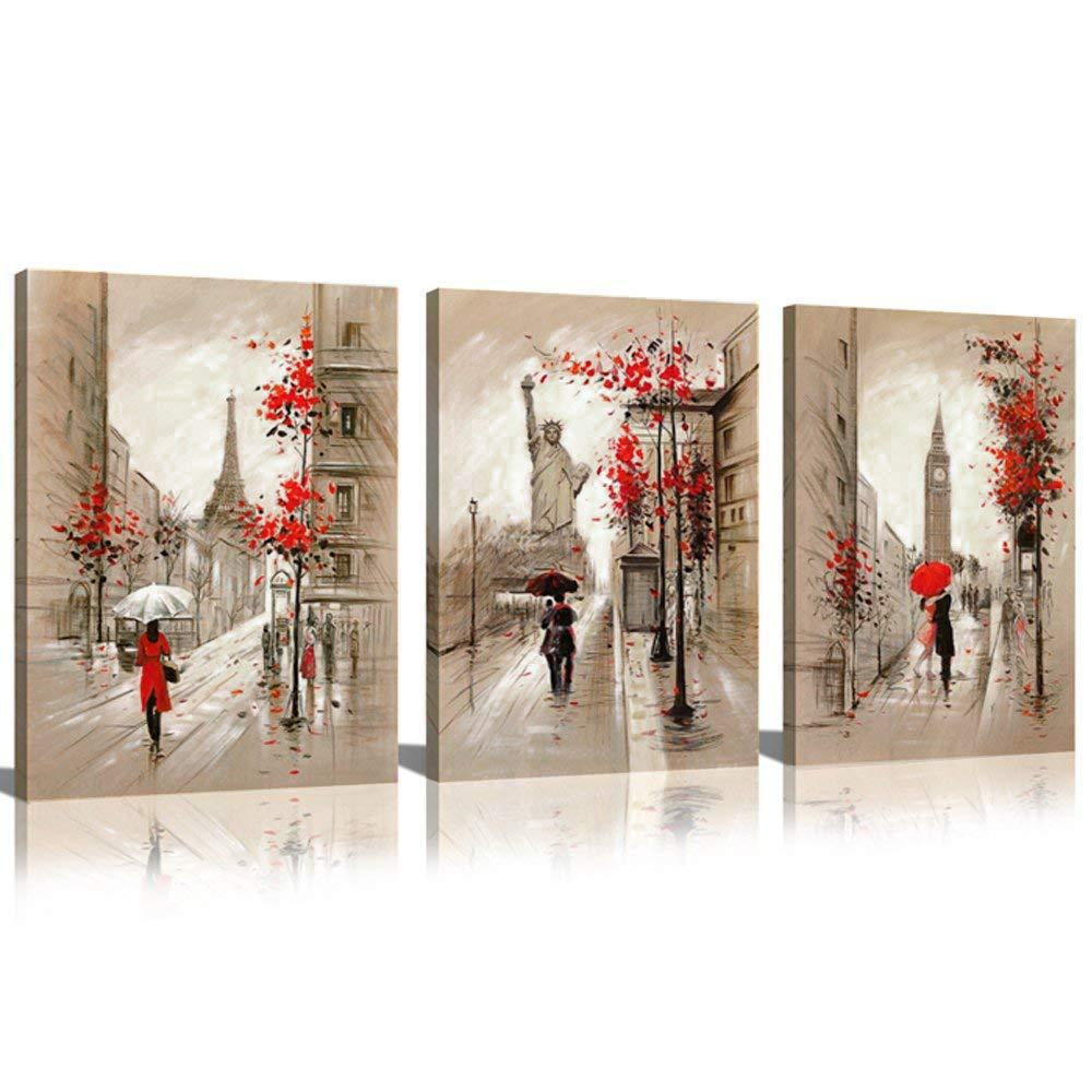 7cf49ac2fe34c CANVASZON Paris Decor Canvas Prints Paris Street Painting Eiffel Tower Oil  Painting Romantic Couple Walking in Rain New York Wall Art for Living Room  ...