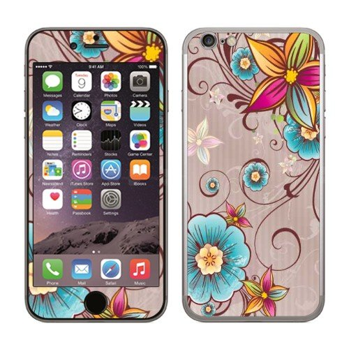 Fincibo (TM) Apple iPhone 6 4.7 inch Decal Vinyl Sticker Skin Cover - Rainbow Flower On Brown