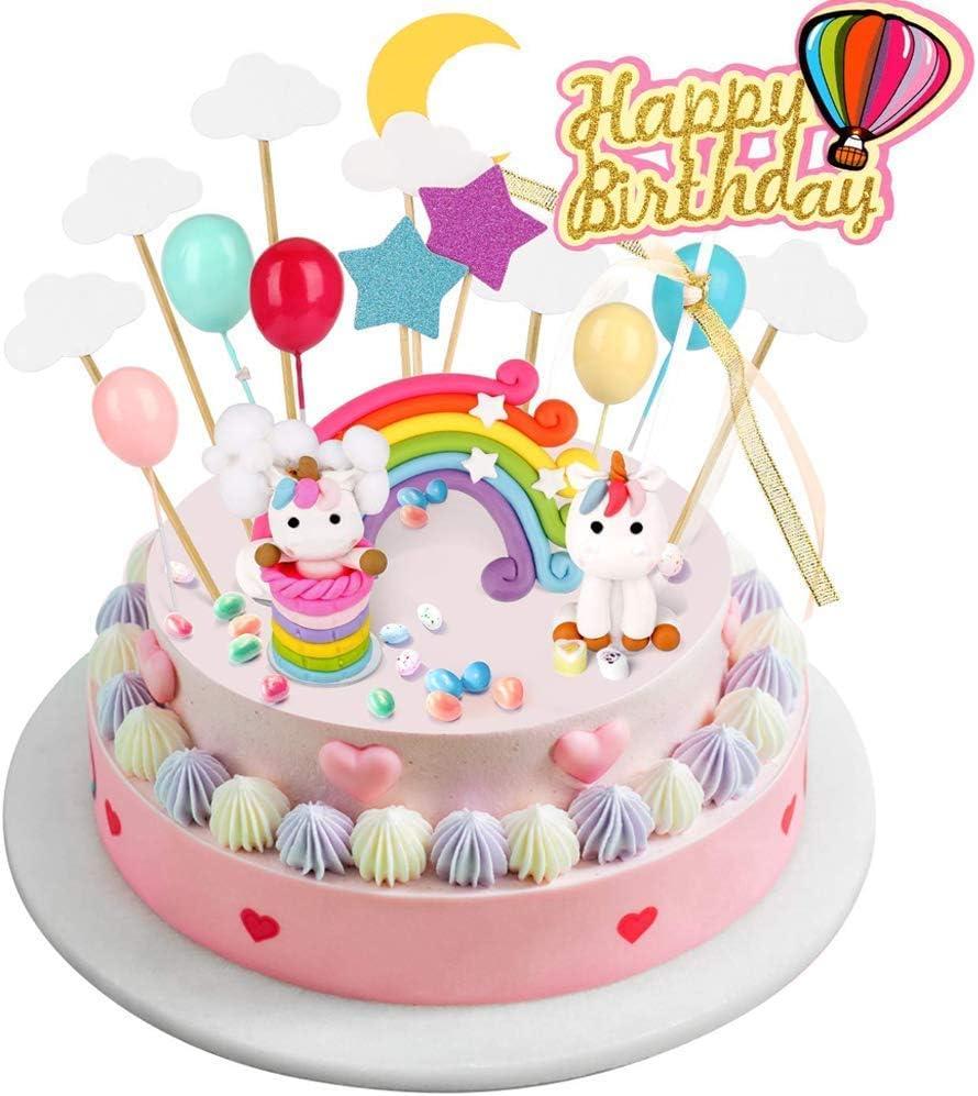 BBLIKE Decoracion Unicornio Cake con Cloud Rainbow + Star Moon + Globos de Colores + Tarjeta de Feliz Cumpleaños Kit de Decoracion Tartas Cumpleaños para Niños Fiesta de Boda