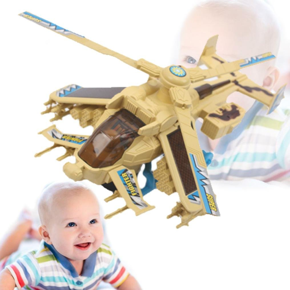 Mamum Led Light Music Fighter Toy, Electric Music Aeroplane Flashing Led Light Music Plane Fighter Toys Boy Gift (A)