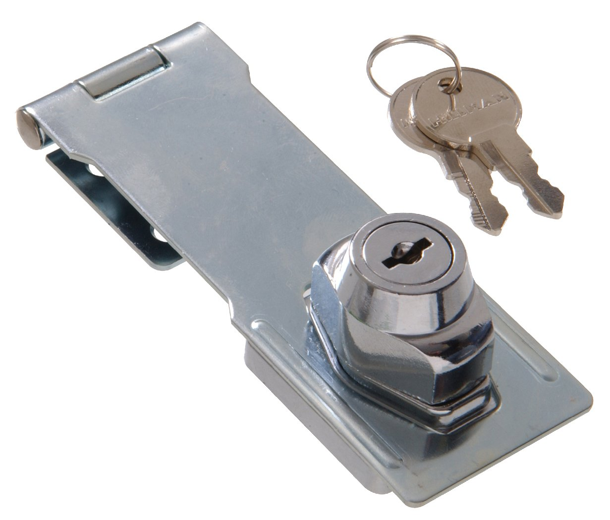 The Hillman Group The Hillman Group 851427 4 1 2 Gate Keyed Safety Hasp Chrome Finish 1 Pack