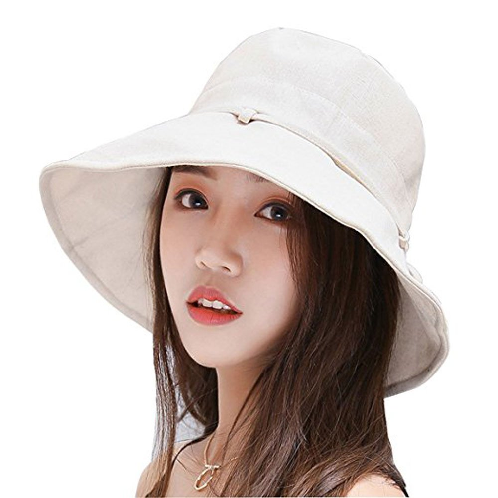 Summer Beach Sun Hat Anti-UV UPF 50+ Foldable Wide Brim Bucket Hat with Neck Cord for Women and Juniors(Beige)